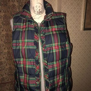Talbots plaid zip front vest